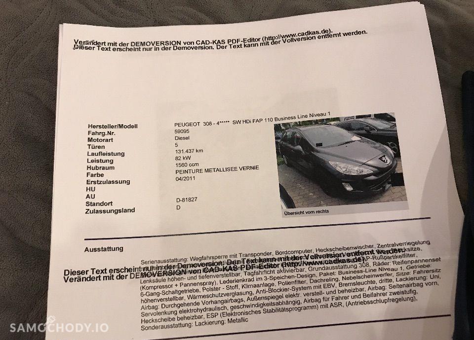 Peugeot 308 1.6 HDI 110KM serwis w ASO 100% Bezwypadkowy Nawigacja 79